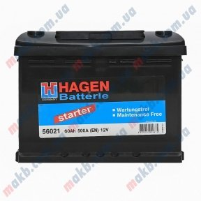Аккумулятор Hagen 60AH L+ 500A